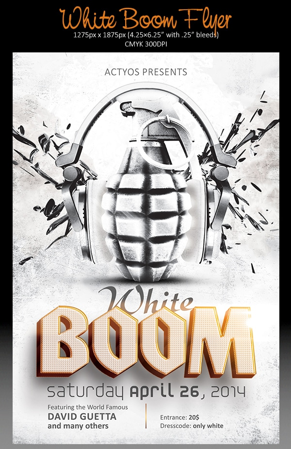 White Boom Flyer Template PSD
