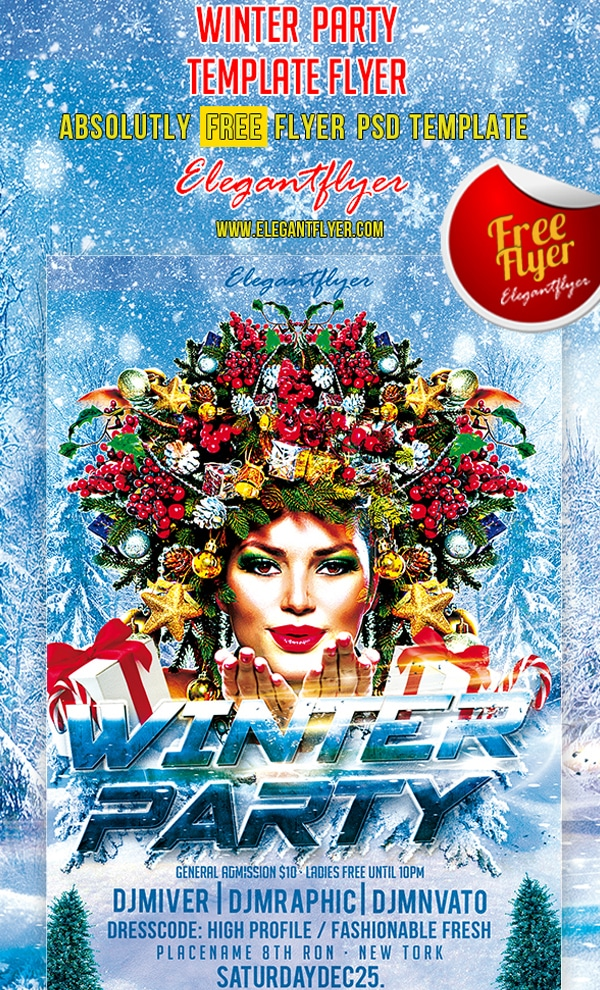 Winter Party – Club and Party Free Flyer Template PSD