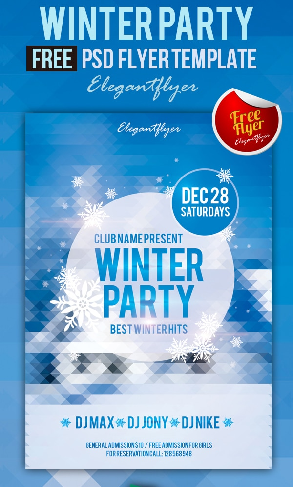 Winter Party - Free Club and Party Flyer Template PSD
