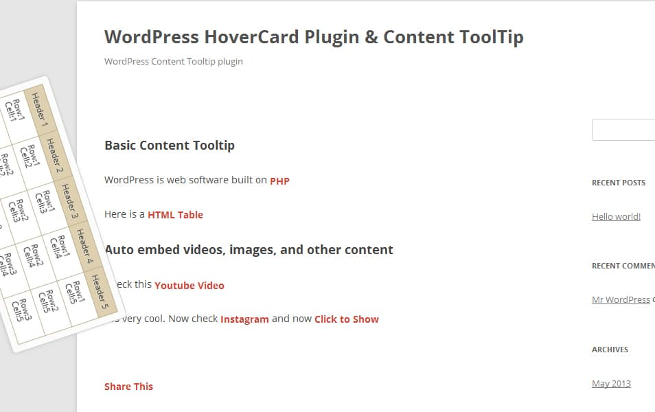 WordPress Hover Image & Content Tooltip Plugin