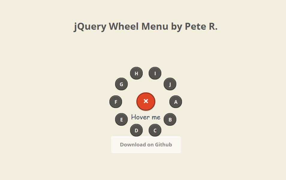 jQuery Wheel Menu