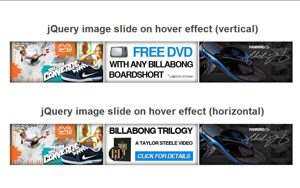 jQuery image slide on hover effect