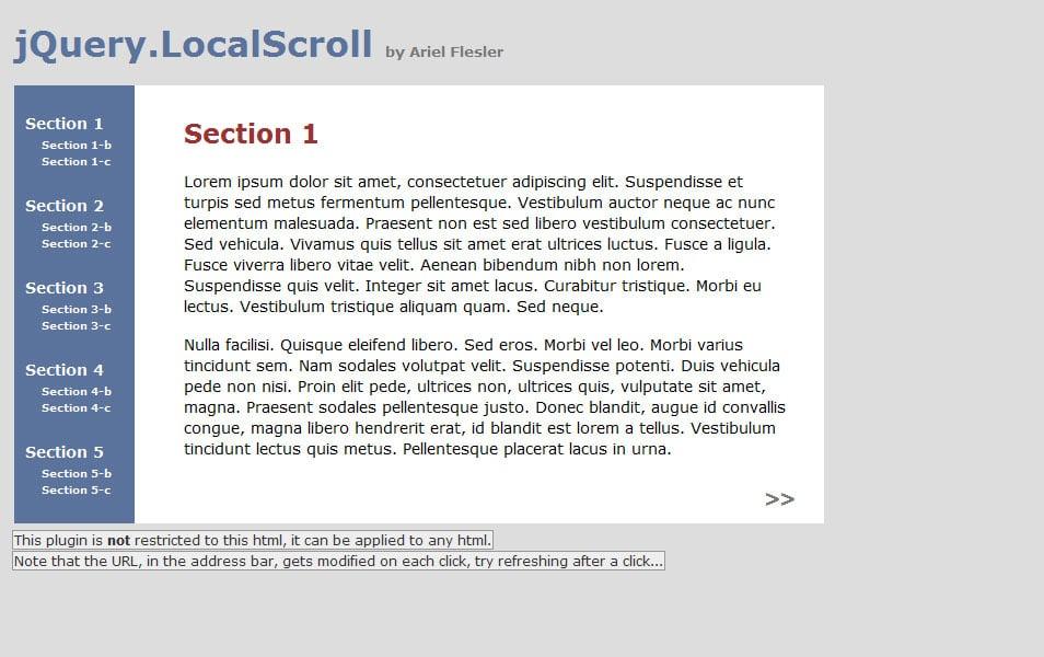 jQuery.localScroll
