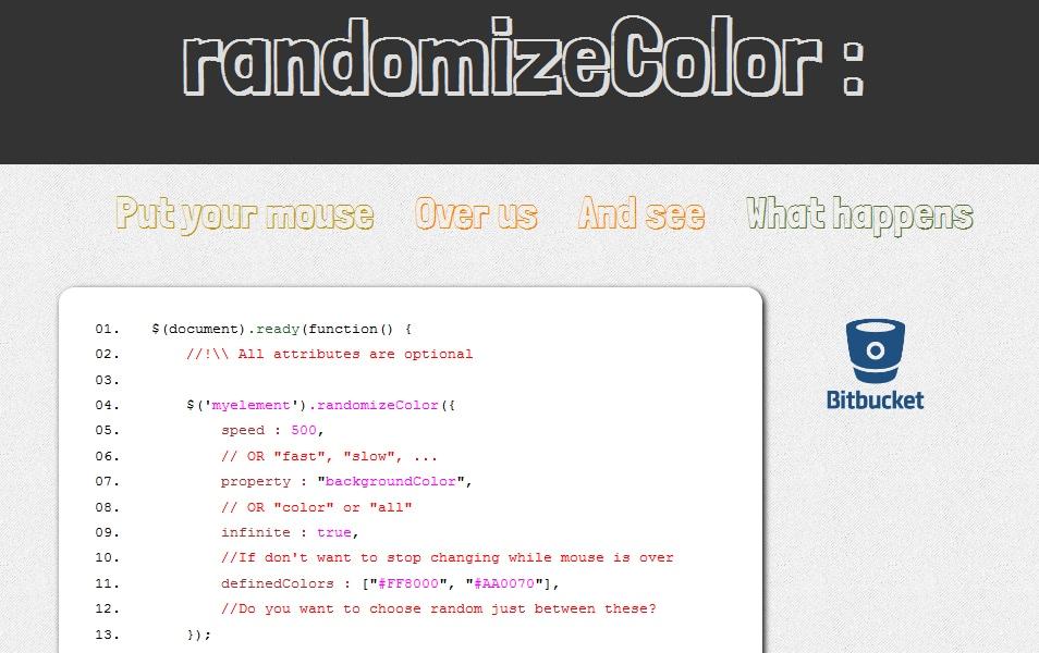 randomizeColor jQuery plugin