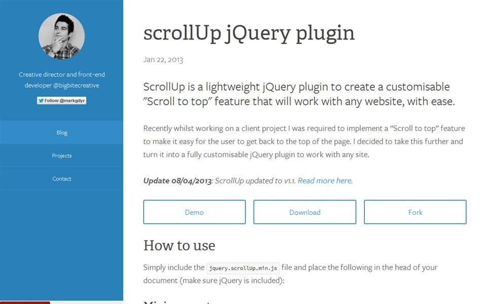 scrollUp jQuery plugin