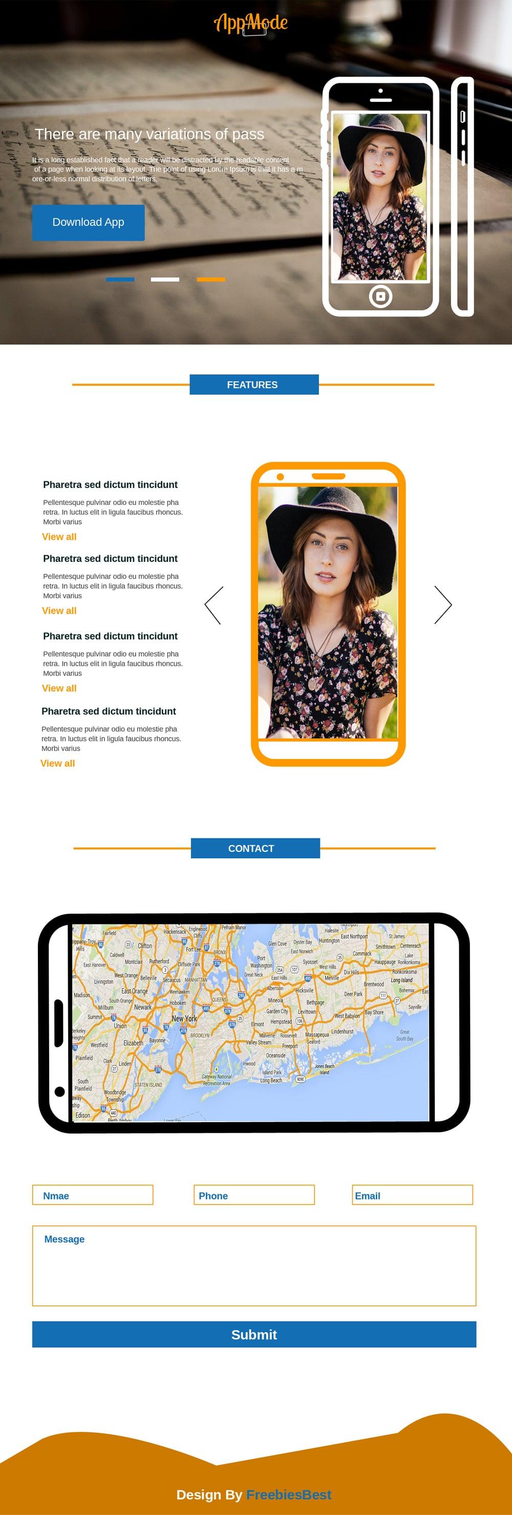App Mode – Landing Page Multipurpose Template PSD