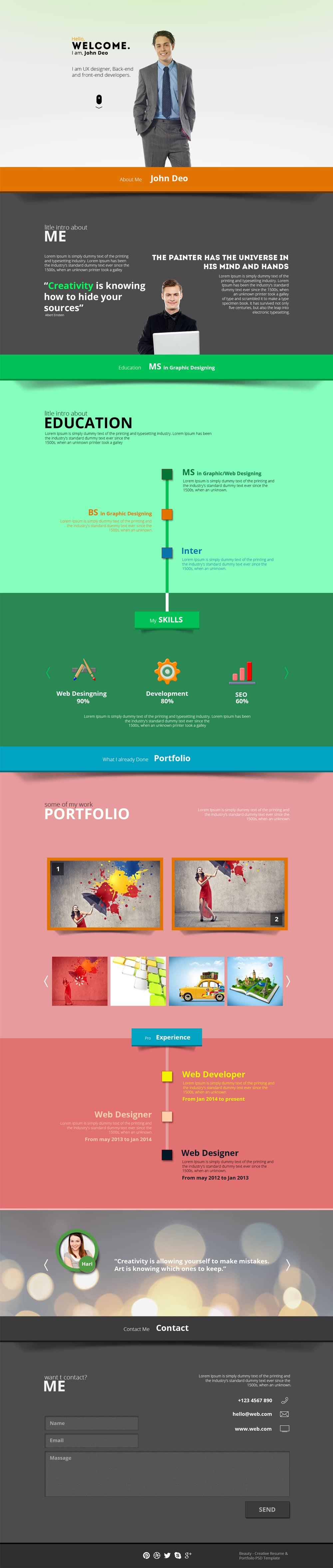 beauty creative resume portfolio psd template