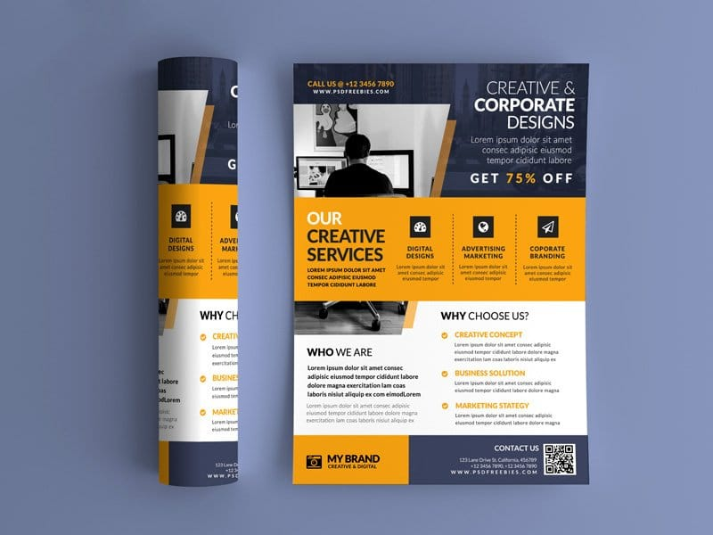 Best Free Flyer Templates PSD CSS Author - Promotional brochure template