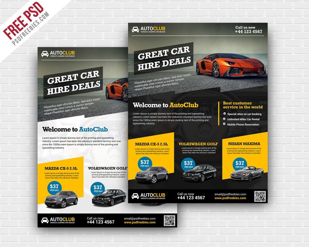 Cars Rental Flyer Template PSD