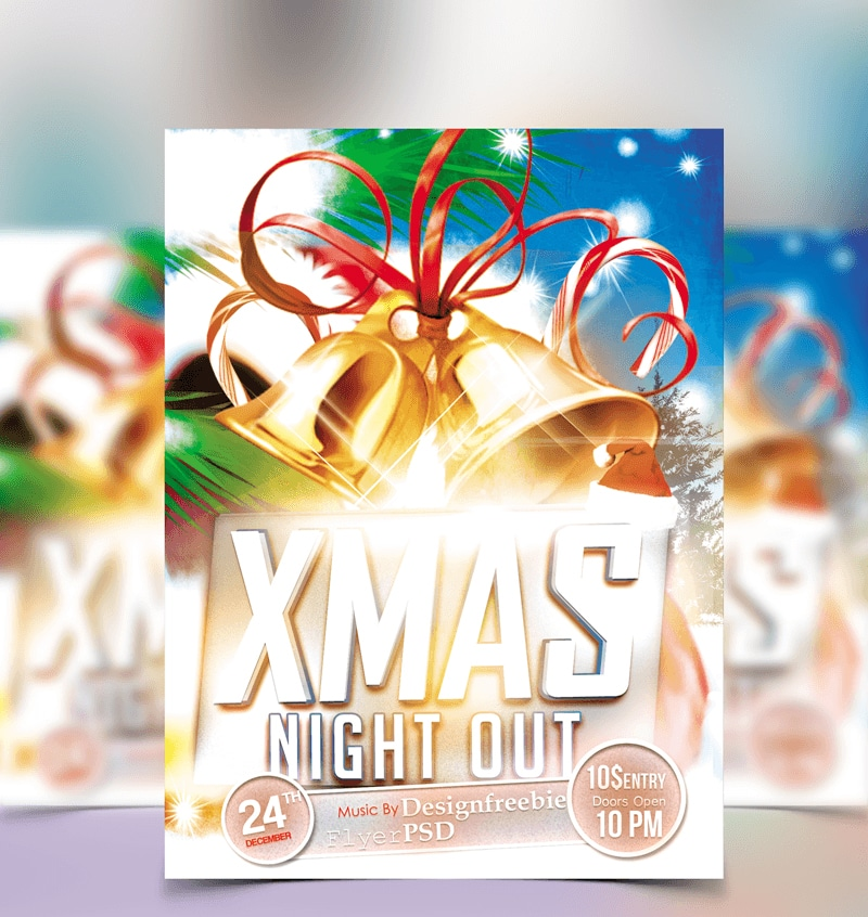 Christmas Party Free Club Flyer Template PSD
