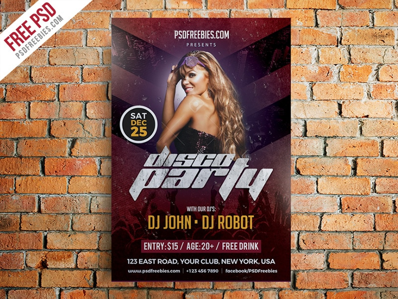 Disco Party Poster Flyer Template PSD