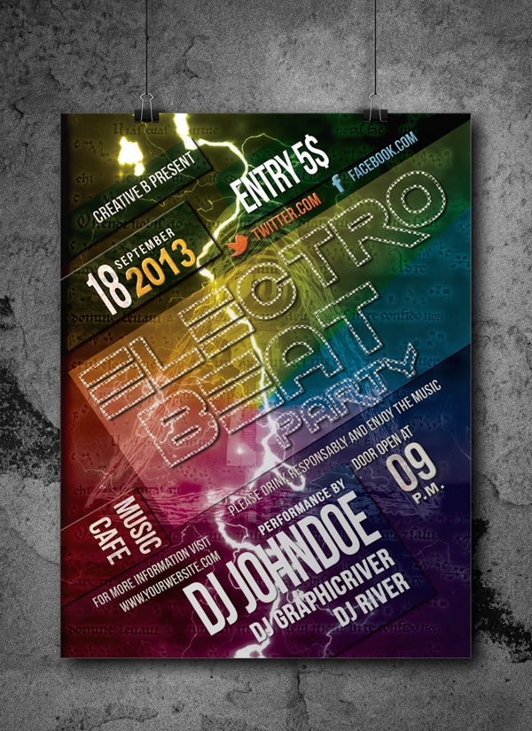 Electro Beat Flyer Template PSD