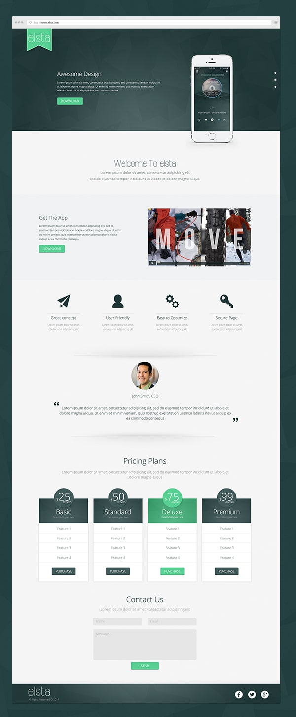 Elsta - Mobile Application Landing Page PSD