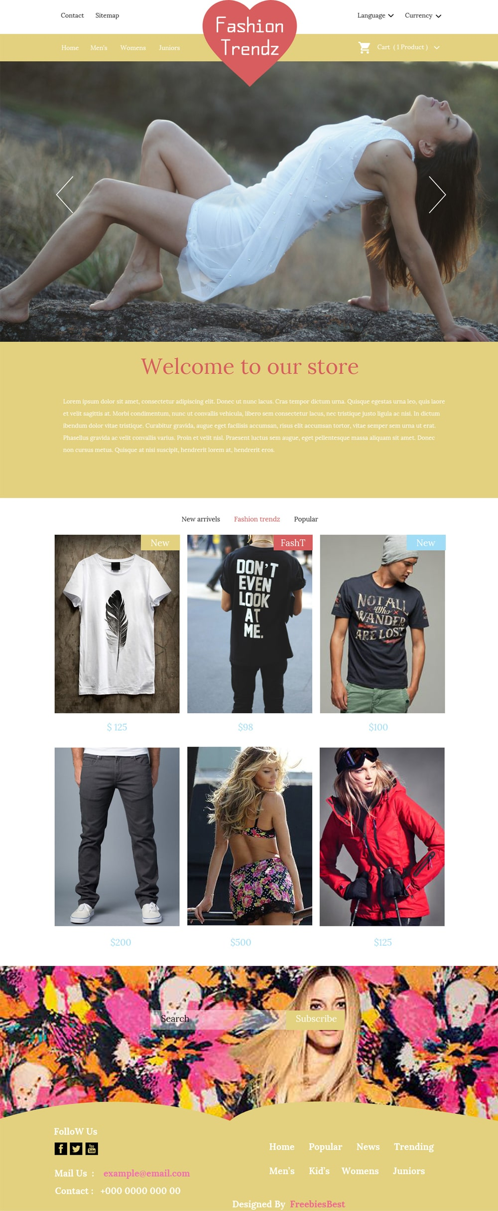 Fashion Trendz - Free Ecommerce Template PSD