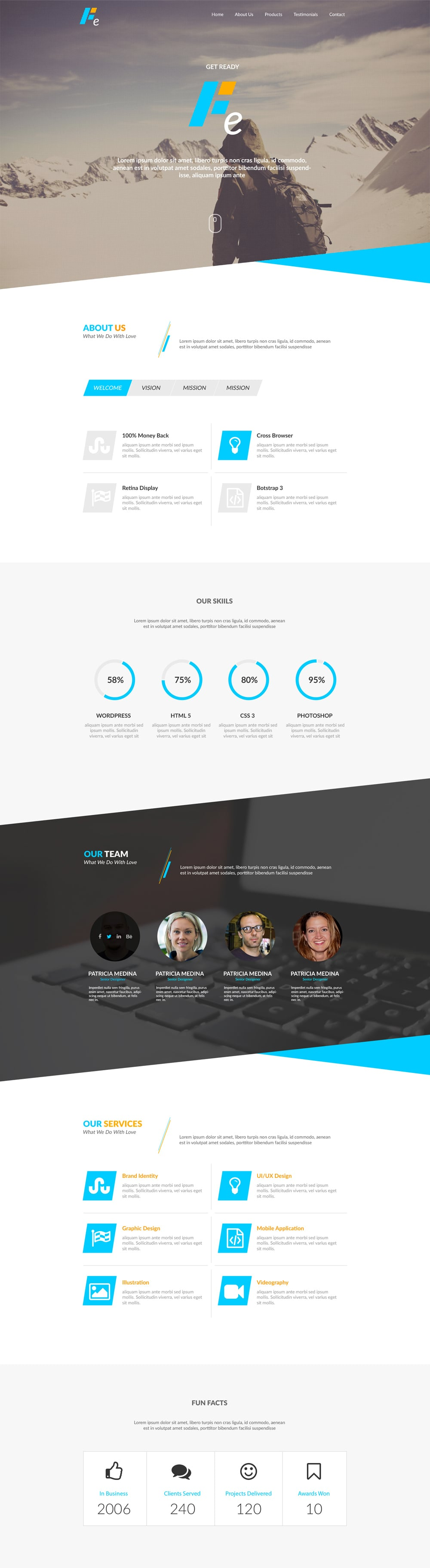 Fe - Free Responsive Webdesign Template PSD