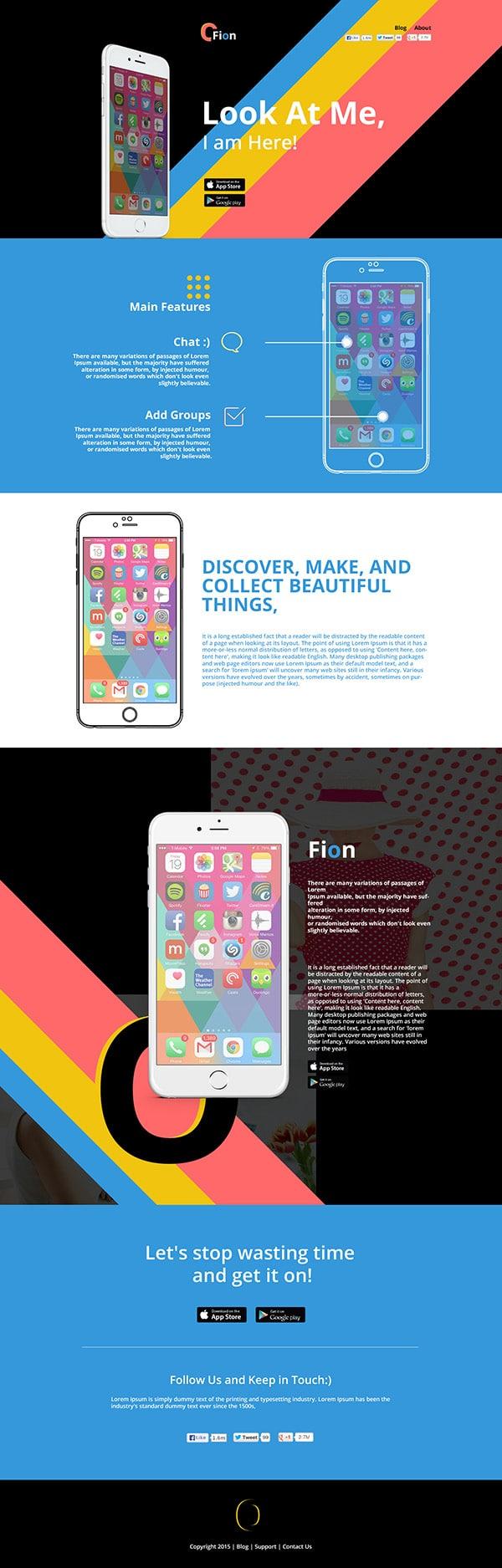 Fion – Mobile App Landing Template PSD