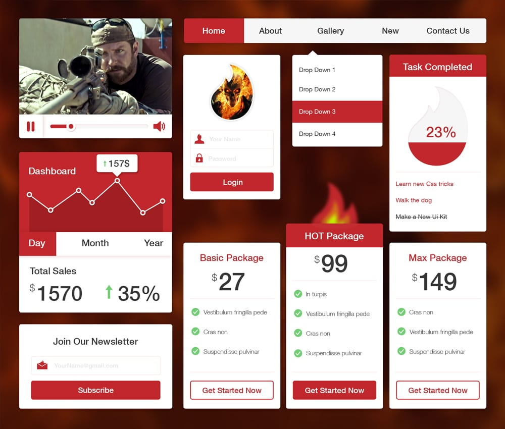 Fire UI Kit PSD