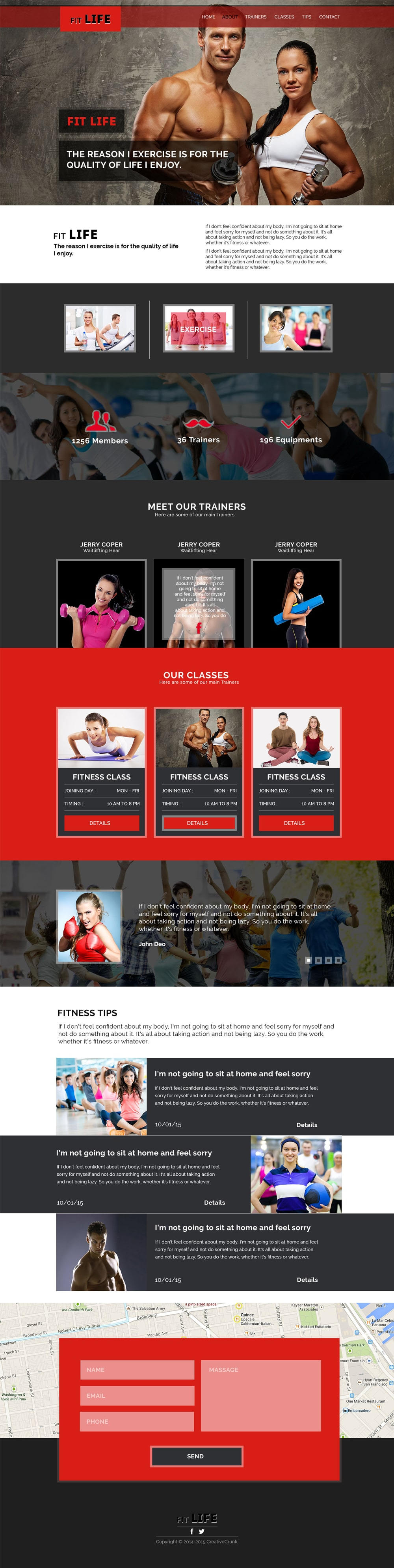 FitLife – Fitness One Page Template PSD
