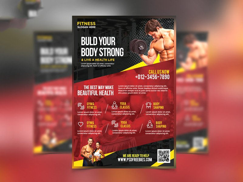 Fitness and Gym Flyer Template PSD