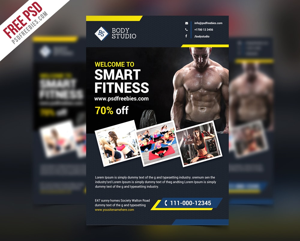 Fitness or Gym Flyer Template PSD