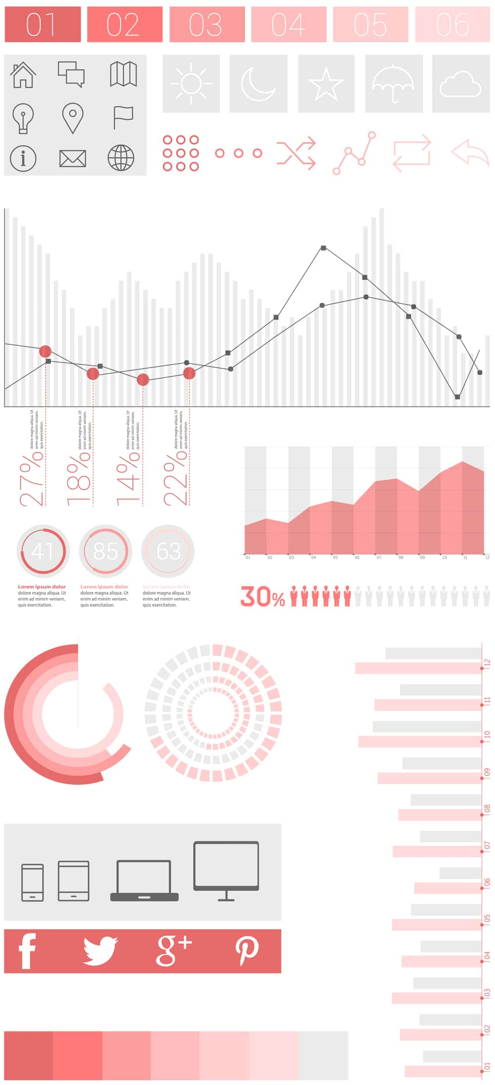 Flat UI Design Infographic Elements