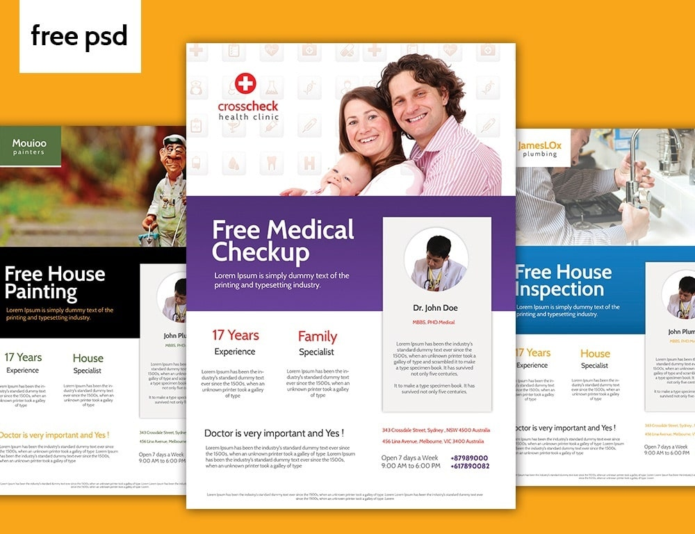 Free 3 Services Flyer Template PSD
