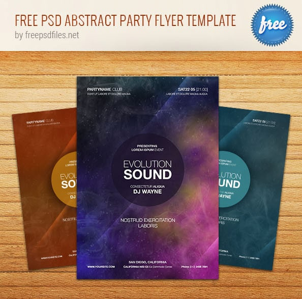 Free Abstract Party Flyer Template PSD