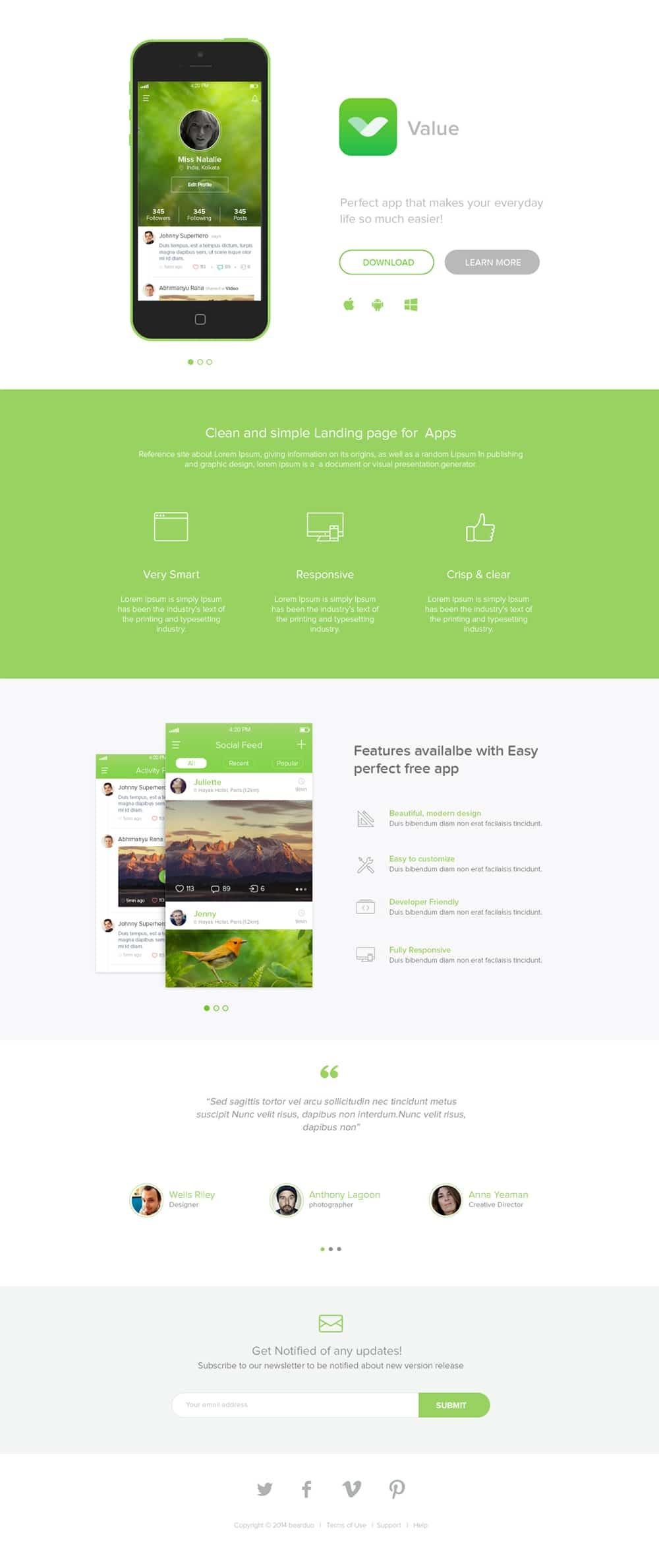 Free App Landing Page PSD