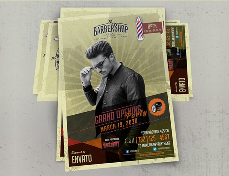 Free Barbershop Retro Flyer Template PSD