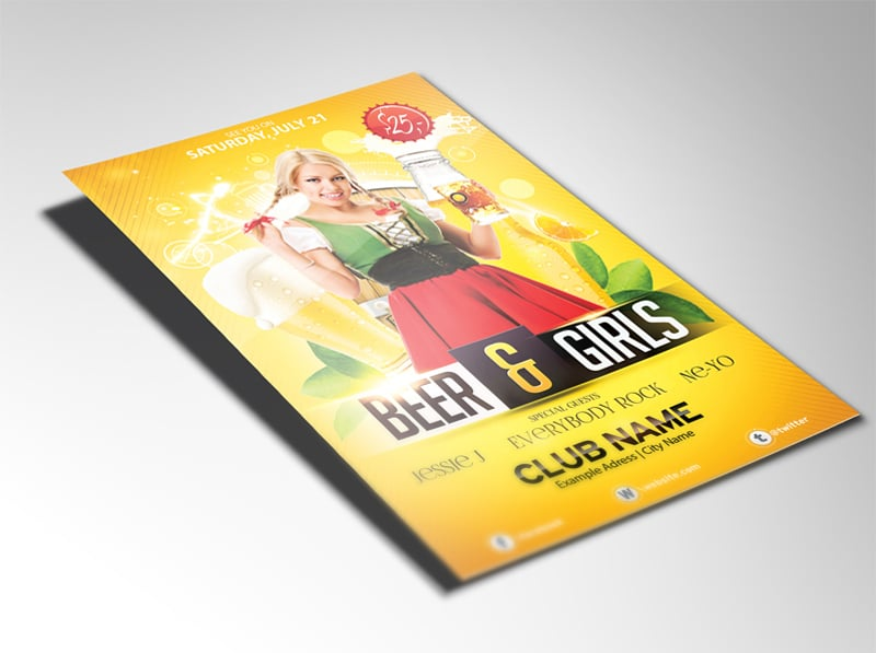 Free Beer and Girls Flyer PSD