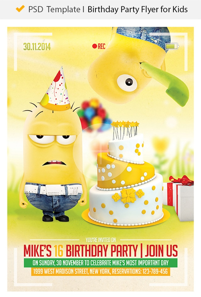 Free Birthday Party Flyer PSD