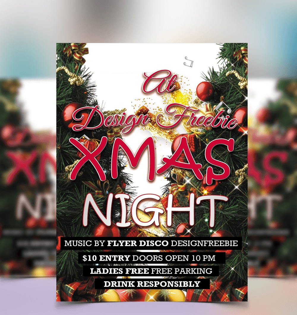 Free Christmas Night Party Flyer Template PSD