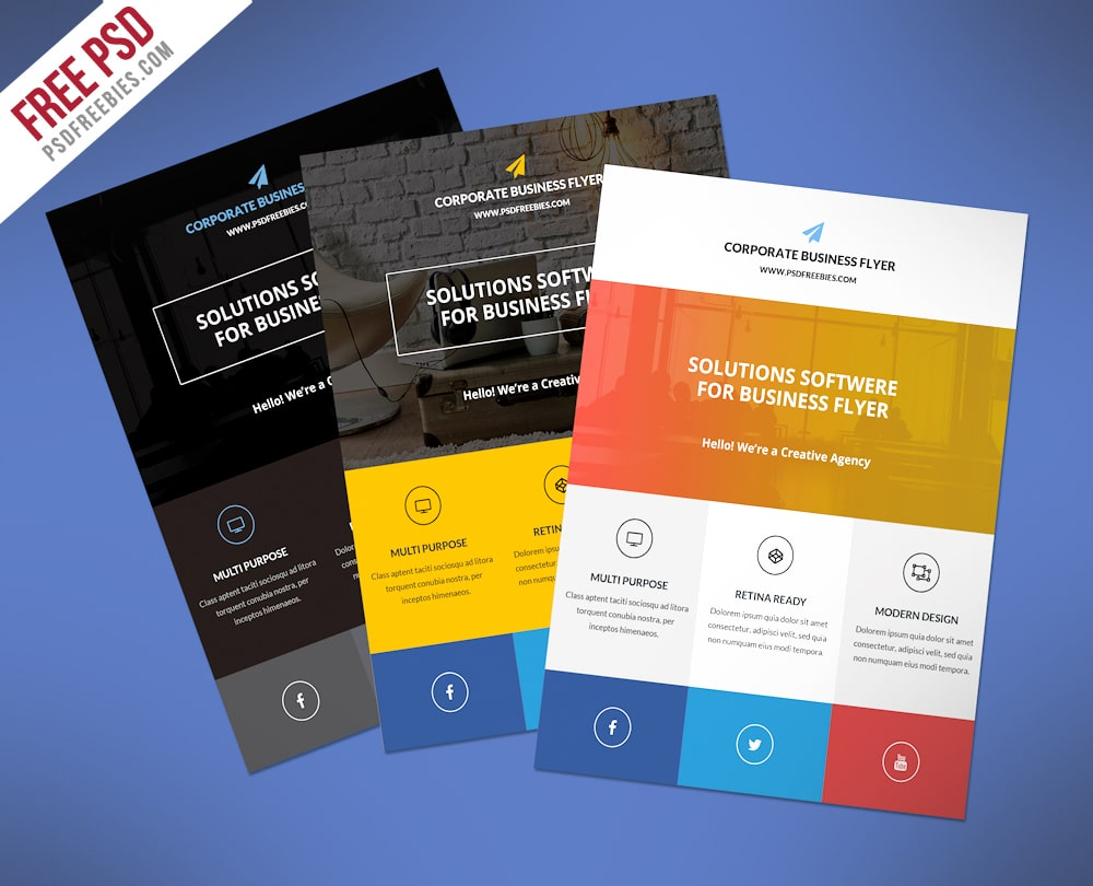 Free Flat Corporate Business Flyer PSD