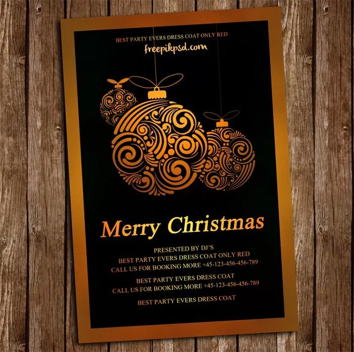 Free Gold Christmas Flyer PSD