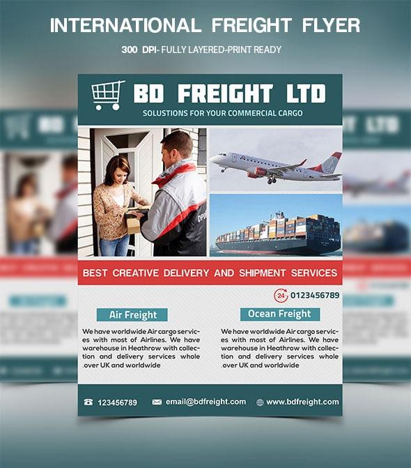 Free International Freight Flyer PSD