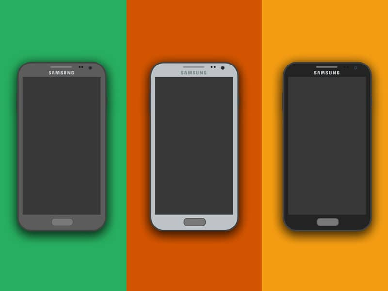 Free Iphone and Samsung Flat Mockup PSD