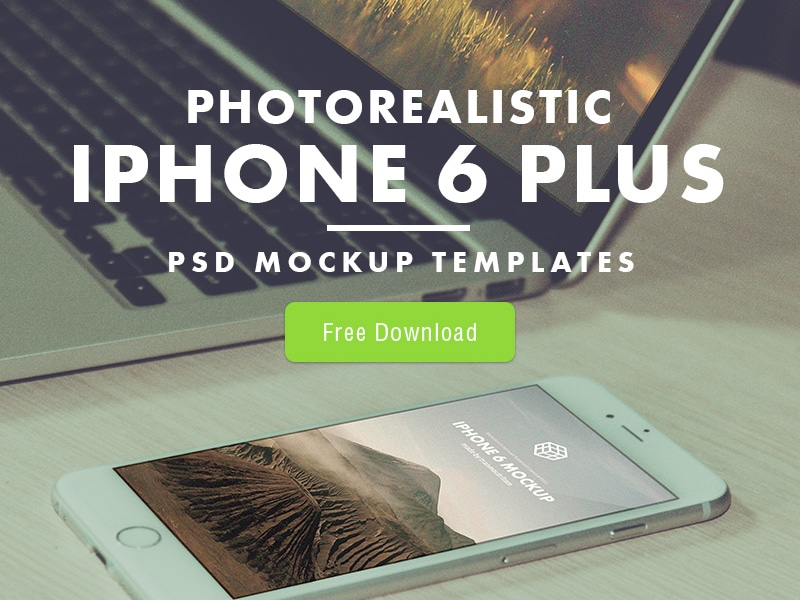 Free Photorealistic iPhone 6 Plus Mockup Templates PSD