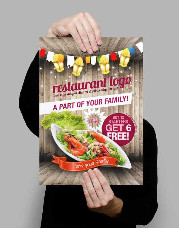 Free Styled Restaurant Flyer Template PSD