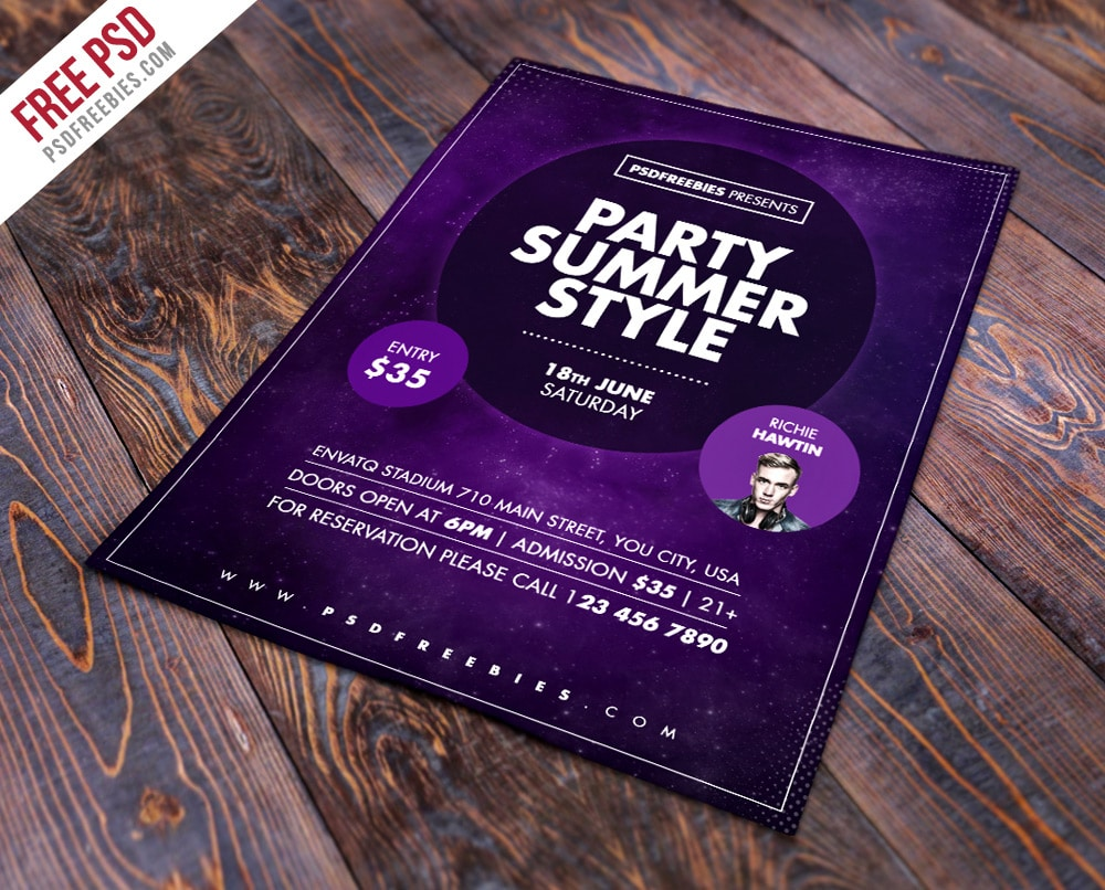 Free Summer Party Flyer Template PSD