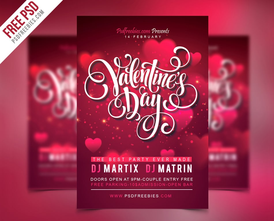 Free Valentines Party Flyer Template PSD
