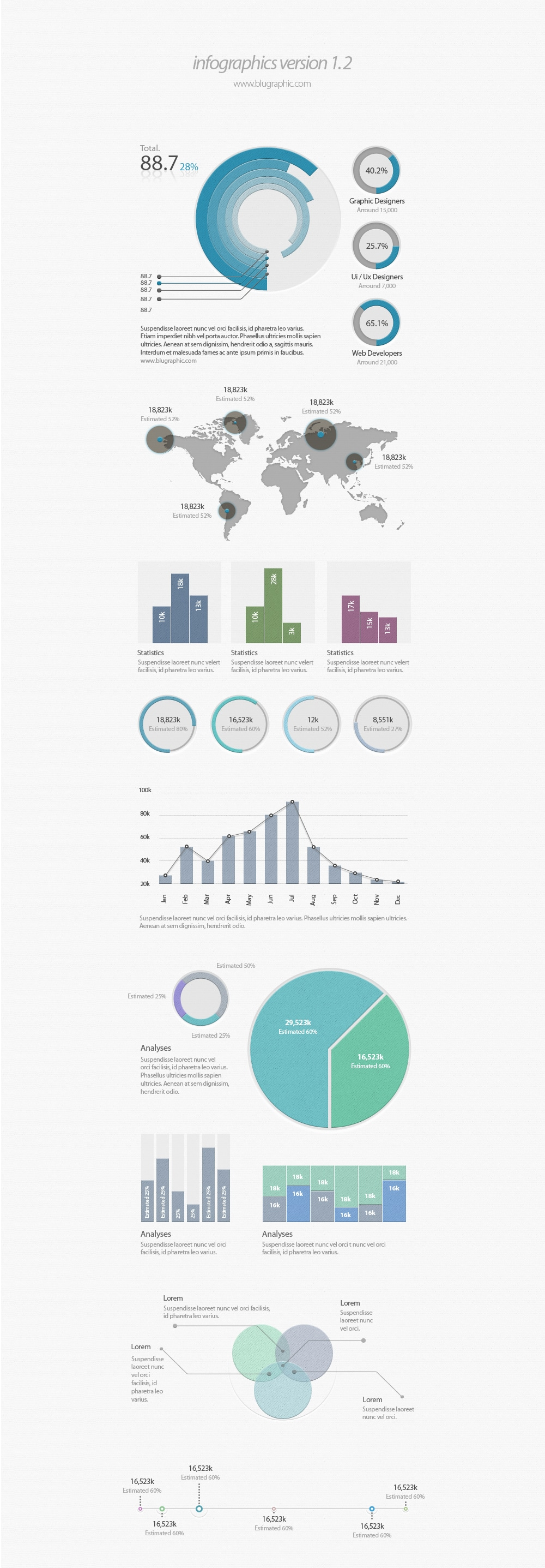 Infographic UI Elements PSD