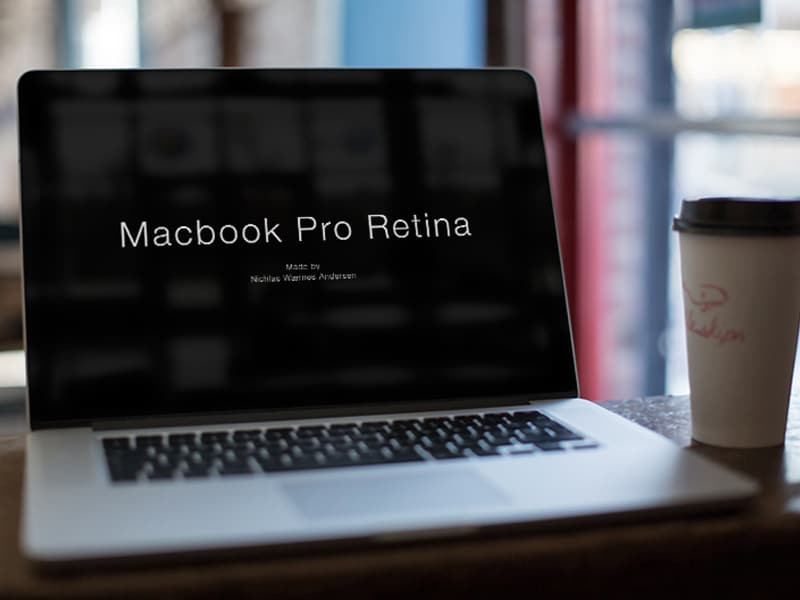 Macbook Cafe Mock Up PSD