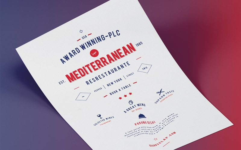 Mediterranean Food Restaurant Flyer Template PSD
