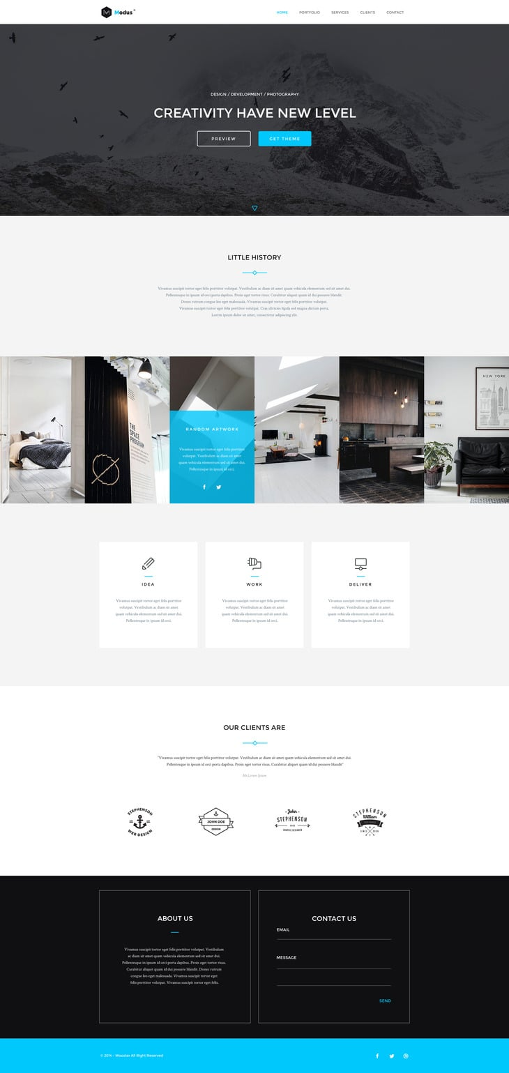 Modus - Single Page Portfolio Template PSD