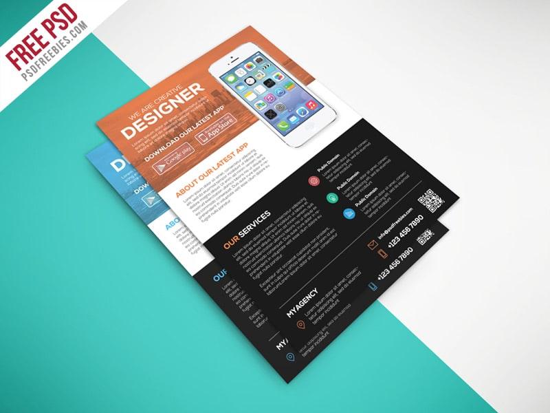 Multipurpose Mobile App Flyer Template PSD
