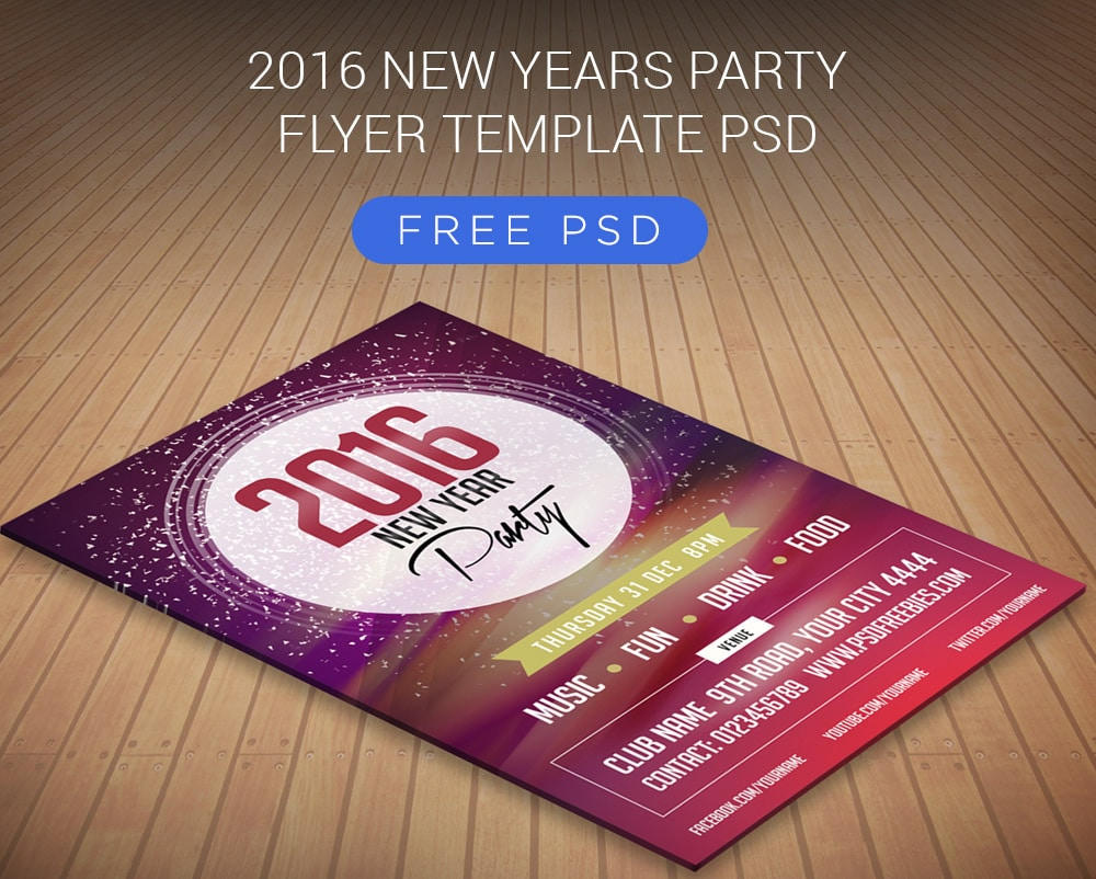 New Years Party Flyer Template PSD