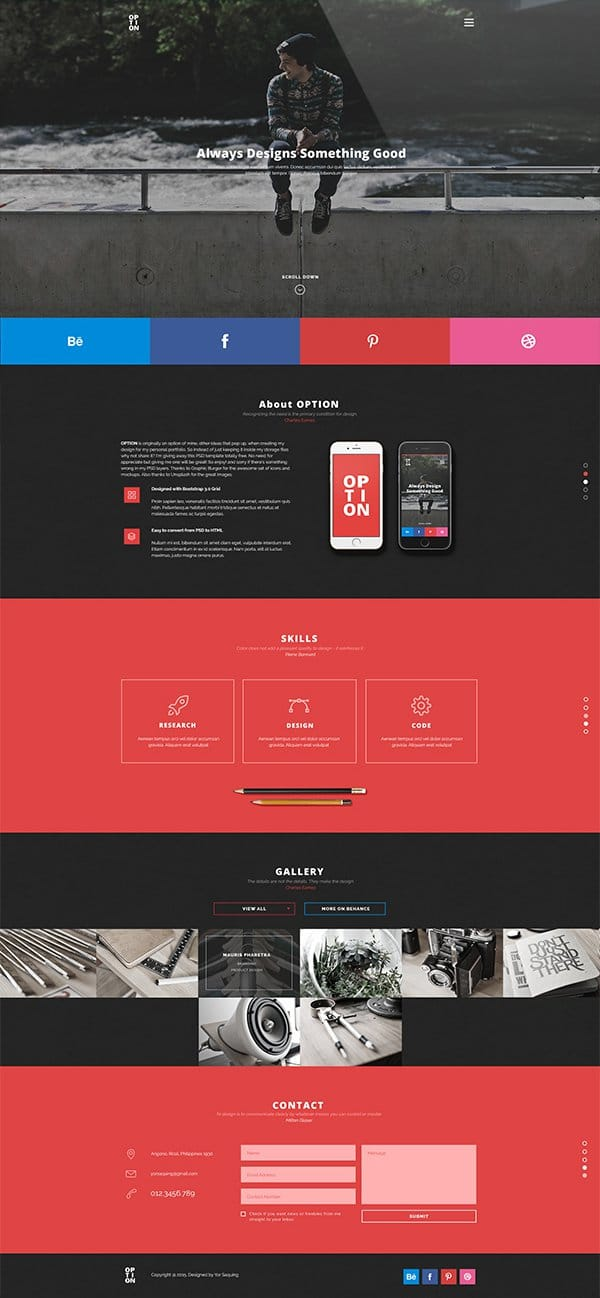 OPTION – Free Web Template PSD