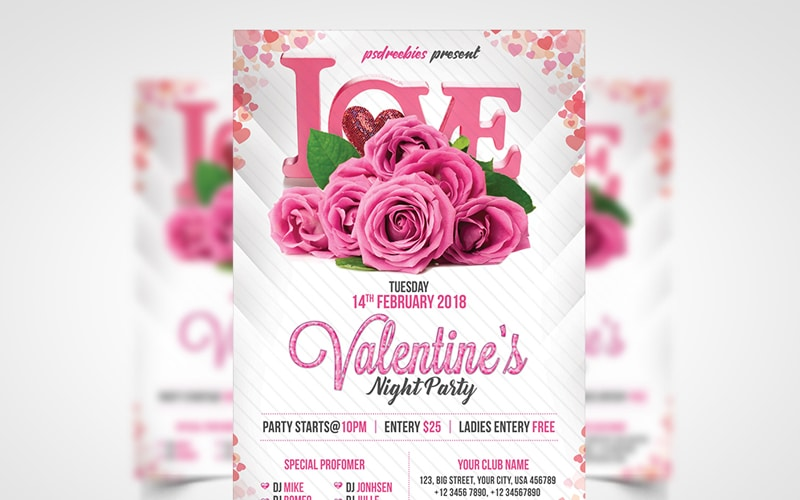 Premium Valentines Party Flyer PSD