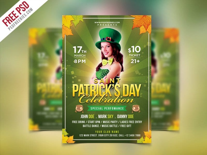 Saint Patrick's Party Flyer Template PSD