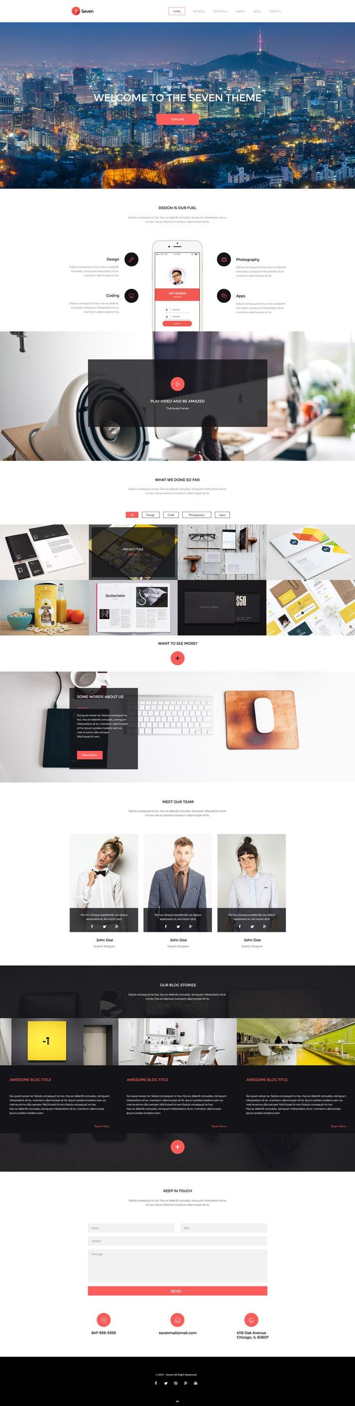 Seven - Creative Portofolio Template PSD